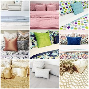 Beds with different styles of bedclothes